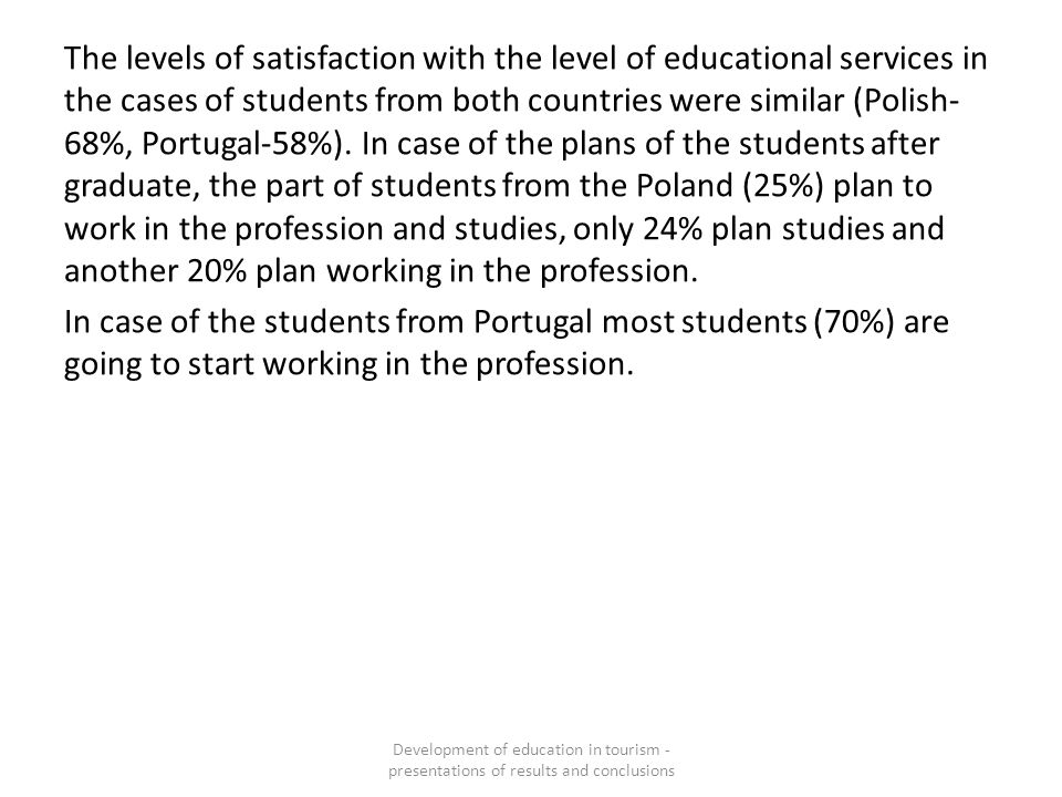 The levels of satisfaction with the level of educational services in the cases of students from both countries were similar (Polish- 68%, Portugal-58%