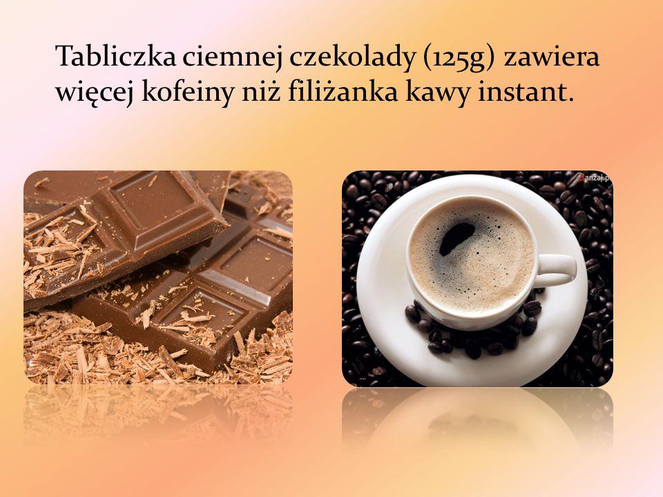Tabliczka ciemnej czekolady (125g) zawiera więcej kofeiny niż filiżanka kawy instant.
