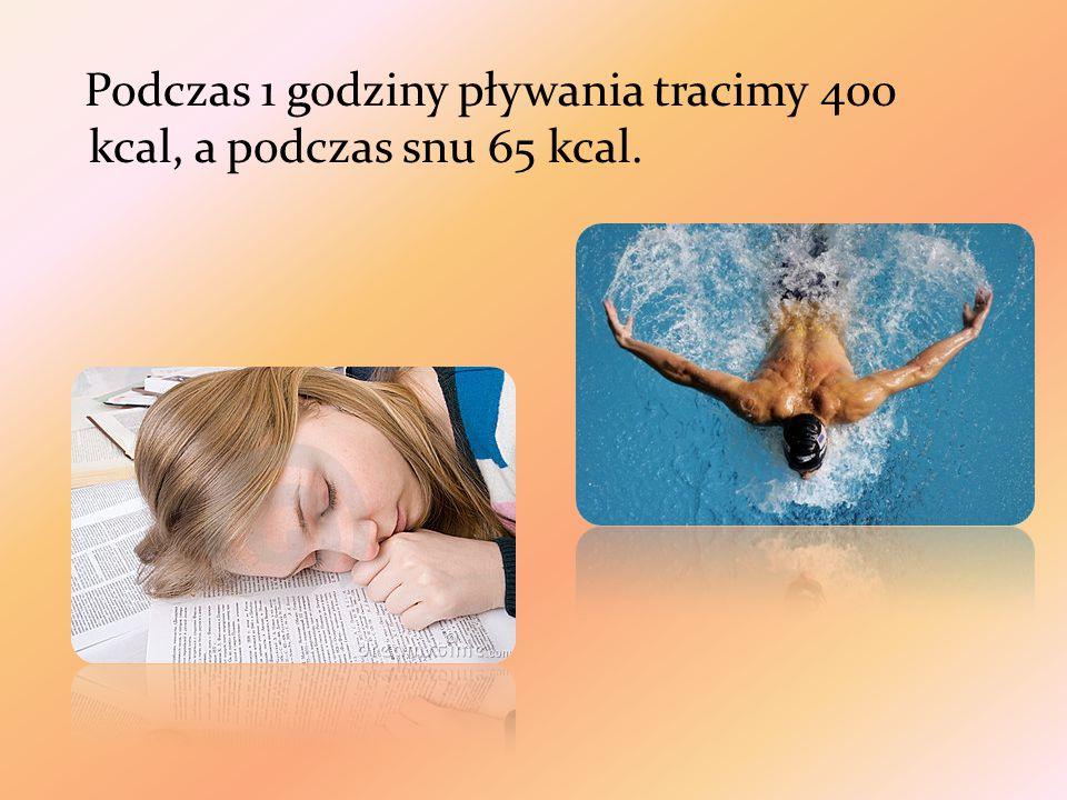 Podczas 1 godziny pływania tracimy 400 kcal, a podczas snu 65 kcal.