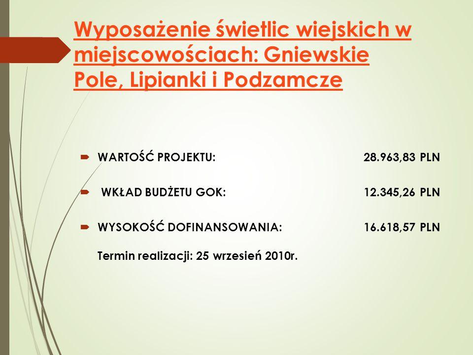 Wyposażenie świetlic wiejskich w miejscowościach: Gniewskie Pole, Lipianki i Podzamcze  WARTOŚĆ PROJEKTU: 28.963,83 PLN  WKŁAD BUDŻETU GOK: 12.345,26 PLN  WYSOKOŚĆ DOFINANSOWANIA: 16.618,57 PLN Termin realizacji: 25 wrzesień 2010r.