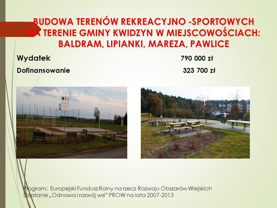 """BUDOWA TERENÓW REKREACYJNO -SPORTOWYCH NA TERENIE GMINY KWIDZYN W MIEJSCOWOŚCIACH: BALDRAM, LIPIANKI, MAREZA, PAWLICE Wydatek 790 000 zł Dofinansowanie 323 700 zł Program: Europejski Fundusz Rolny na rzecz Rozwoju Obszarów Wiejskich Działanie """"Odnowa i rozwój wsi PROW na lata 2007-2013"""