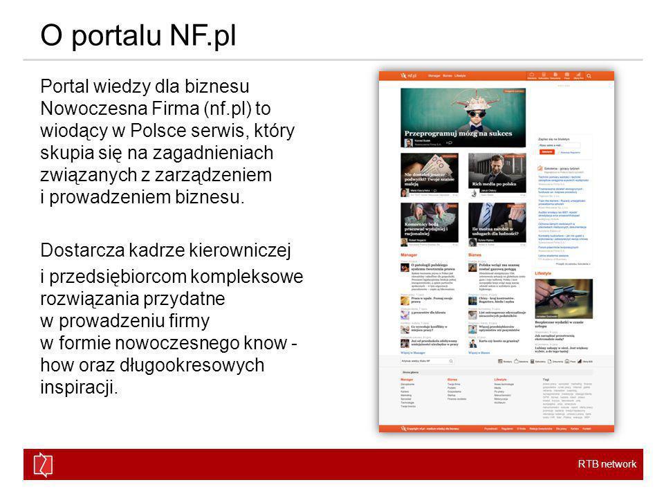 RTB network O portalu NF.pl Portal Nowoczesna Firma skierowany jest do menedżerów poszczególnych działów, osób zarządzających i właścicieli małych i średnich przedsiębiorstw.
