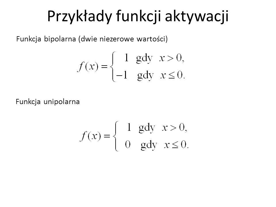 Przykłady funkcji aktywacji Funkcja bipolarna (dwie niezerowe wartości) Funkcja unipolarna