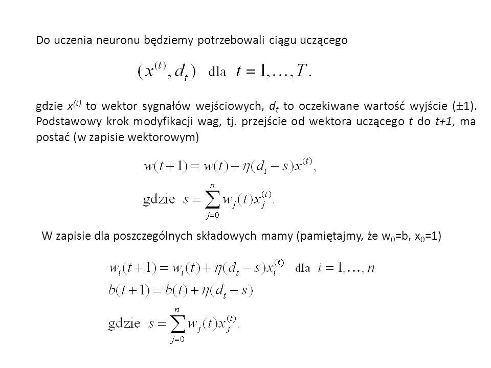 Do uczenia neuronu będziemy potrzebowali ciągu uczącego gdzie x (t) to wektor sygnałów wejściowych, d t to oczekiwane wartość wyjście (  1). Podstawo