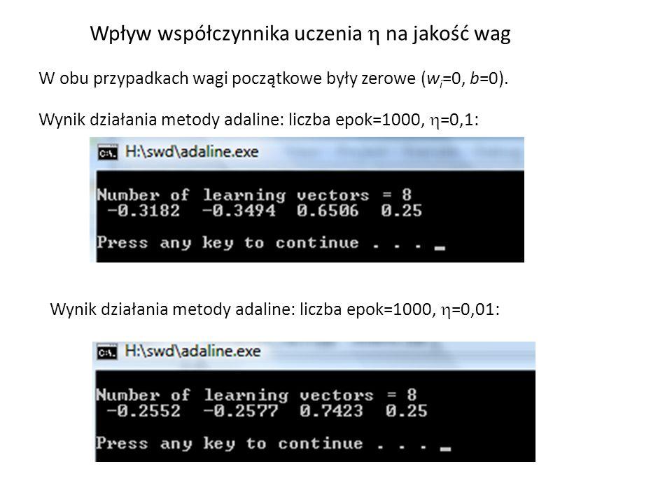 Wynik działania metody adaline: liczba epok=1000,  =0,1: Wpływ współczynnika uczenia  na jakość wag W obu przypadkach wagi początkowe były zerowe (w