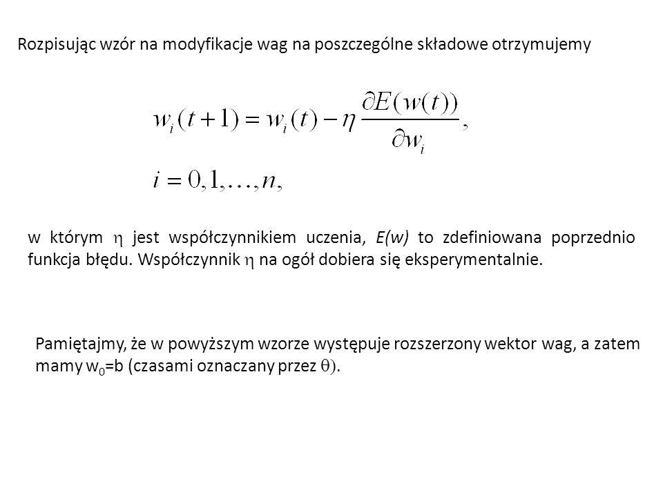 Rozpisując wzór na modyfikacje wag na poszczególne składowe otrzymujemy w którym  jest współczynnikiem uczenia, E(w) to zdefiniowana poprzednio funkc