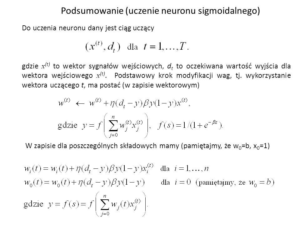 Do uczenia neuronu dany jest ciąg uczący gdzie x (t) to wektor sygnałów wejściowych, d t to oczekiwana wartość wyjścia dla wektora wejściowego x (t).