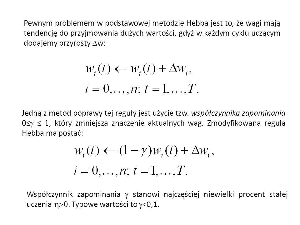 Pewnym problemem w podstawowej metodzie Hebba jest to, że wagi mają tendencję do przyjmowania dużych wartości, gdyż w każdym cyklu uczącym dodajemy pr