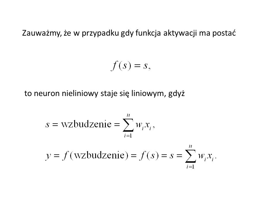 Neuron z funkcją progową (Inna nazwa to funkcja Heaviside'a) 1