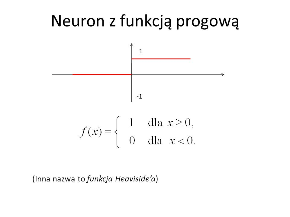 Algorytm uczenia perceptronu 1.Losujemy wagi początkowe w 1, …,w n oraz próg b.