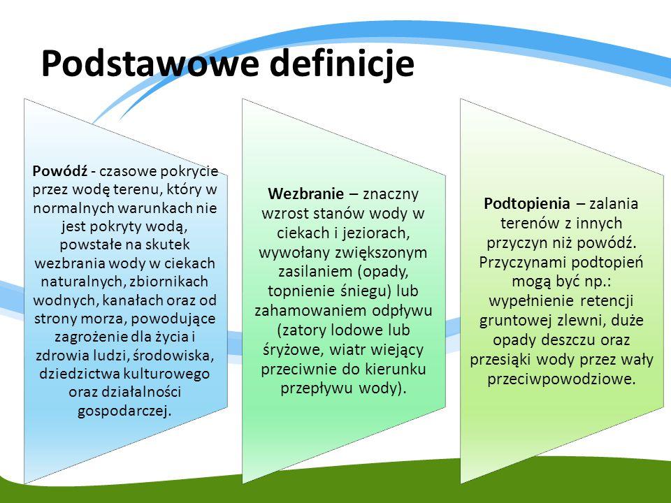Podstawowe definicje Powódź – czasowe pokrycie przez wodę terenu, który w normalnych warunkach nie jest pokryty wodą, wywołane przez wezbranie wody w ciekach naturalnych, zbiornikach wodnych, kanałach oraz od strony morza, z wyłączeniem pokrycia przez wodę terenu wywołanego przez wezbranie wody w systemach kanalizacyjnych.
