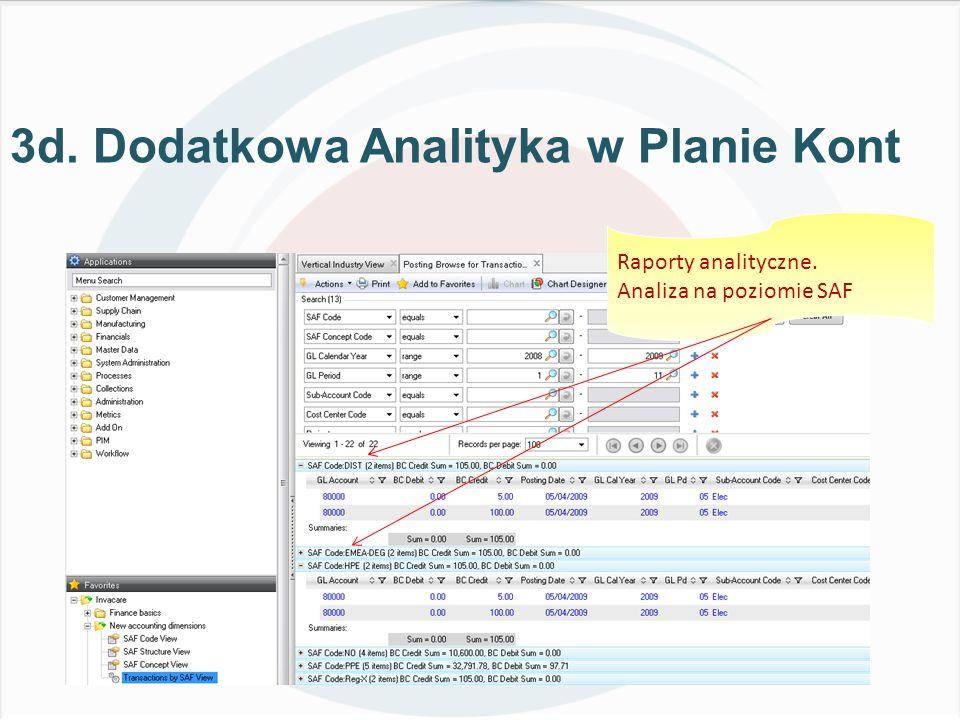 3d. Dodatkowa Analityka w Planie Kont Raporty analityczne. Analiza na poziomie SAF