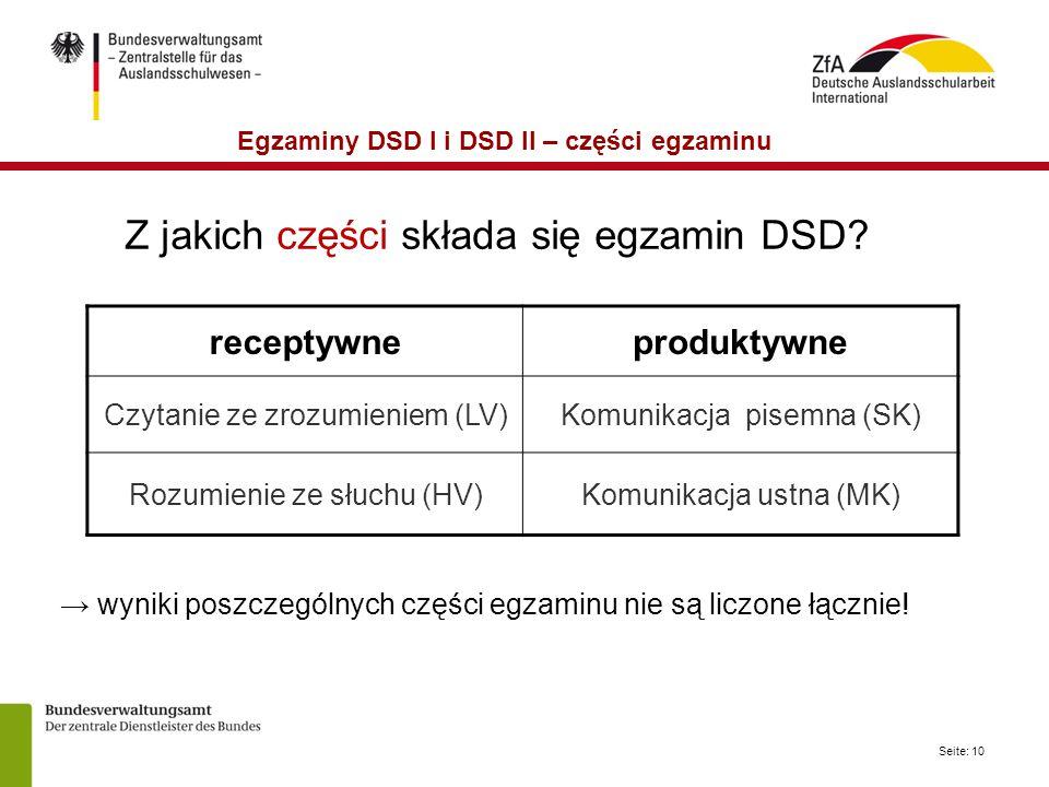 Seite: 10 Z jakich części składa się egzamin DSD.