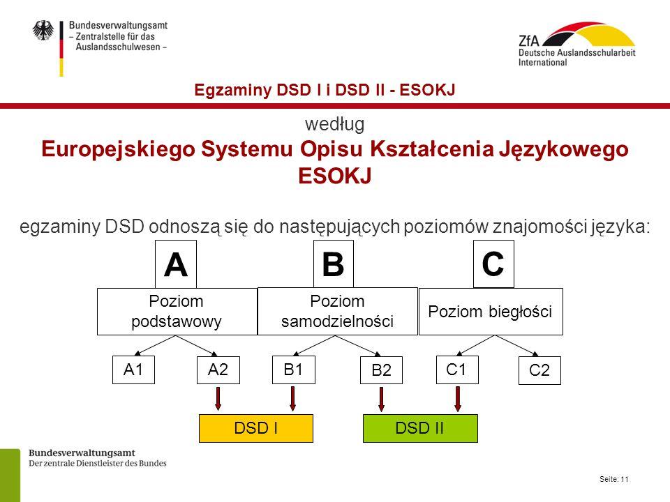 Seite: 11 według Europejskiego Systemu Opisu Kształcenia Językowego ESOKJ egzaminy DSD odnoszą się do następujących poziomów znajomości języka: Egzaminy DSD I i DSD II - ESOKJ DSD IDSD II A B C Poziom podstawowy Poziom biegłości A1 A2 B1 B2 C1 C2 Poziom samodzielności