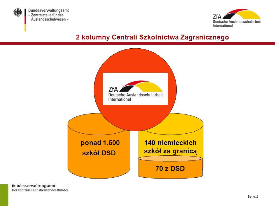 Seite: 2 2 kolumny Centrali Szkolnictwa Zagranicznego ponad 1.500 szkół DSD 140 niemieckich szkół za granicą 70 z DSD