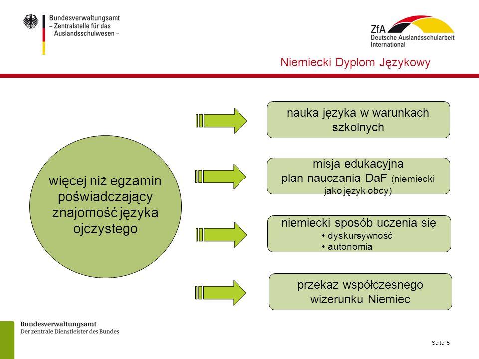 Seite: 5 nauka języka w warunkach szkolnych misja edukacyjna plan nauczania DaF (niemiecki jako język obcy) niemiecki sposób uczenia się dyskursywność
