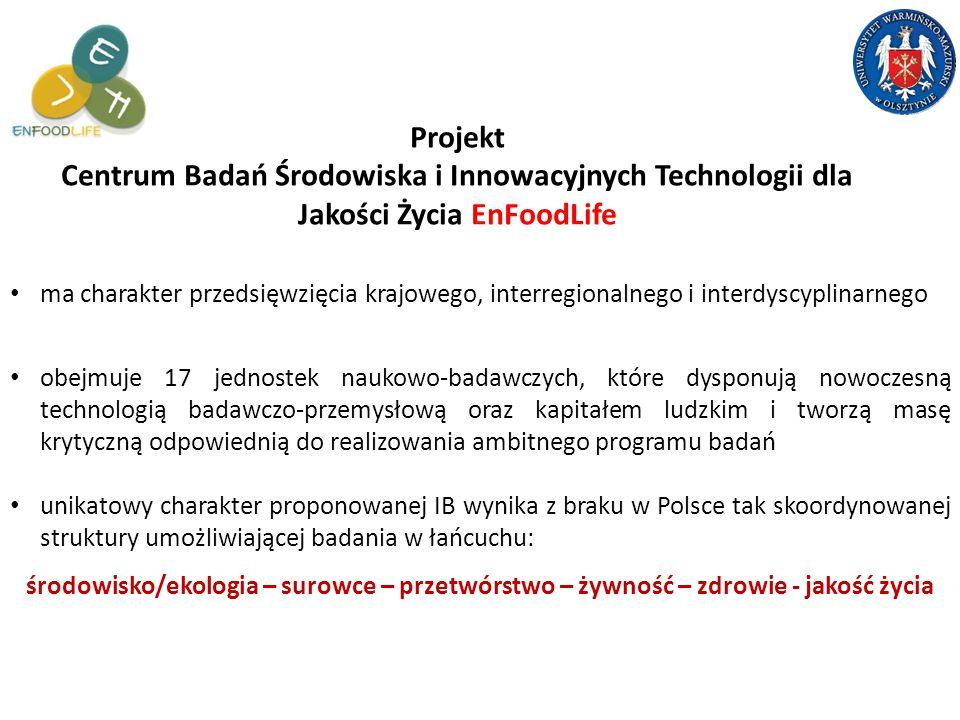 Projekt Centrum Badań Środowiska i Innowacyjnych Technologii dla Jakości Życia EnFoodLife obejmuje 17 jednostek naukowo-badawczych, które dysponują nowoczesną technologią badawczo-przemysłową oraz kapitałem ludzkim i tworzą masę krytyczną odpowiednią do realizowania ambitnego programu badań unikatowy charakter proponowanej IB wynika z braku w Polsce tak skoordynowanej struktury umożliwiającej badania w łańcuchu: ma charakter przedsięwzięcia krajowego, interregionalnego i interdyscyplinarnego środowisko/ekologia – surowce – przetwórstwo – żywność – zdrowie - jakość życia