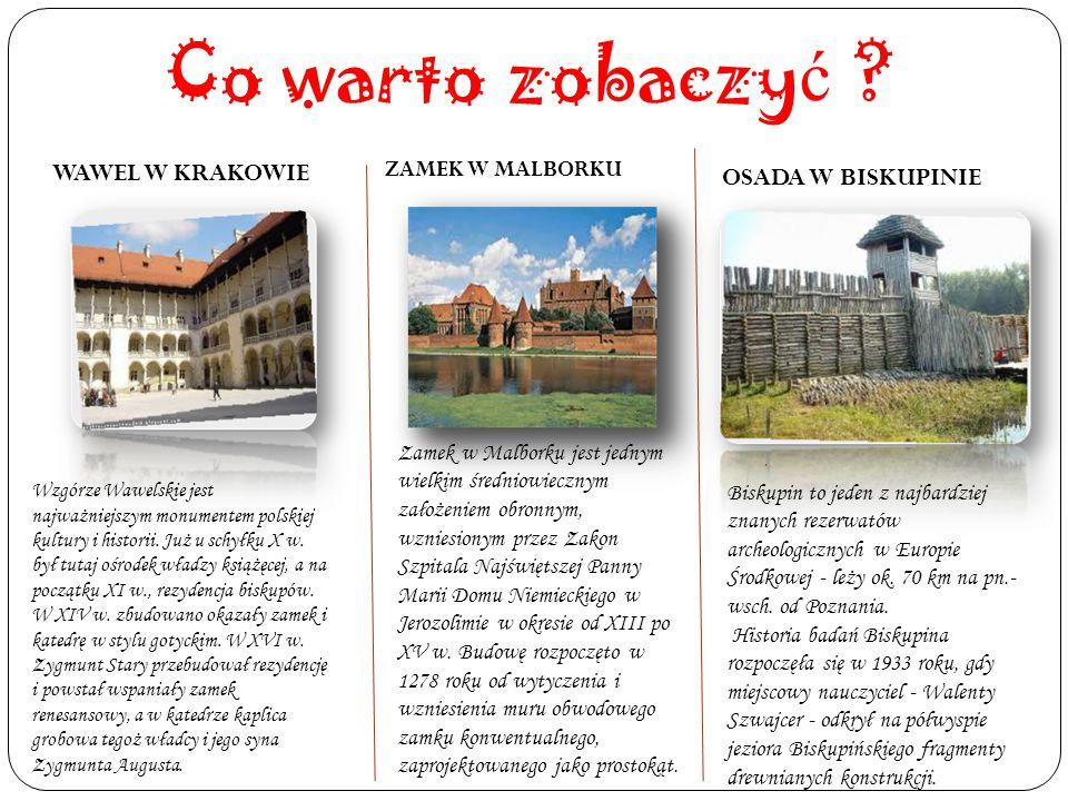 Co warto zobaczy ć ? WAWEL W KRAKOWIE ZAMEK W MALBORKU. OSADA W BISKUPINIE Wzgórze Wawelskie jest najważniejszym monumentem polskiej kultury i histori