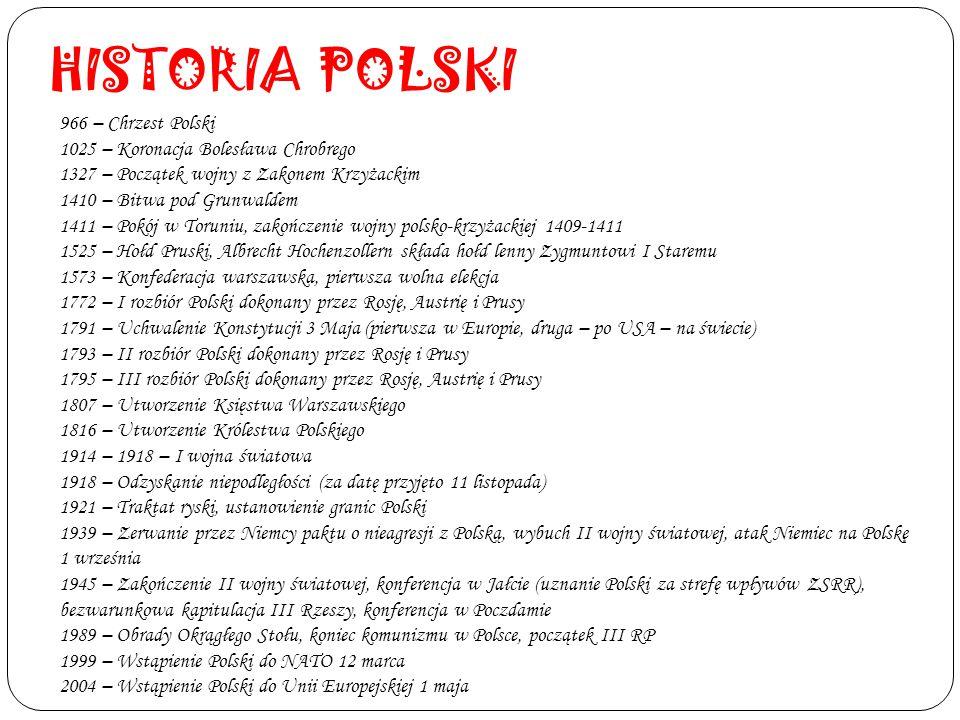 HISTORIA POLSKI 966 – Chrzest Polski 1025 – Koronacja Bolesława Chrobrego 1327 – Początek wojny z Zakonem Krzyżackim 1410 – Bitwa pod Grunwaldem 1411