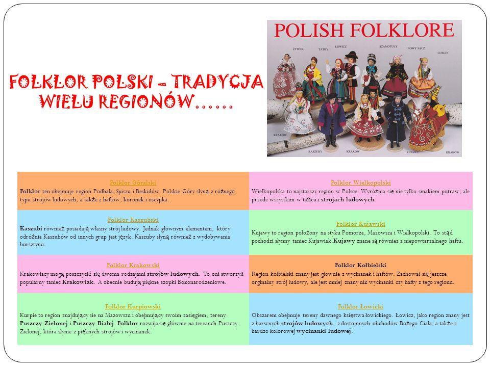 Folklor Góralski Folklor ten obejmuje region Podhala, Spiszu i Beskidów. Polskie Góry słyn ą z ró ż nego typu strojów ludowych, a tak ż e z haftów, ko