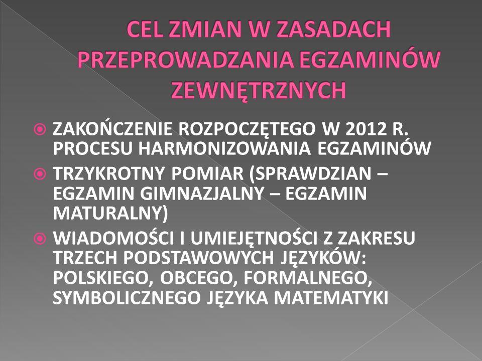 ZAKOŃCZENIE ROZPOCZĘTEGO W 2012 R. PROCESU HARMONIZOWANIA EGZAMINÓW  TRZYKROTNY POMIAR (SPRAWDZIAN – EGZAMIN GIMNAZJALNY – EGZAMIN MATURALNY)  WIA