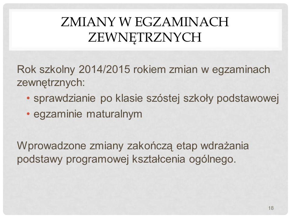 ZMIANY W EGZAMINACH ZEWNĘTRZNYCH Rok szkolny 2014/2015 rokiem zmian w egzaminach zewnętrznych: sprawdzianie po klasie szóstej szkoły podstawowej egzam