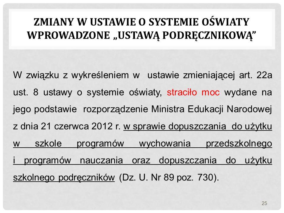 """ZMIANY W USTAWIE O SYSTEMIE OŚWIATY WPROWADZONE """"USTAWĄ PODRĘCZNIKOWĄ"""" W związku z wykreśleniem w ustawie zmieniającej art. 22a ust. 8 ustawy o system"""