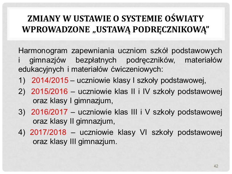 Harmonogram zapewniania uczniom szkół podstawowych i gimnazjów bezpłatnych podręczników, materiałów edukacyjnych i materiałów ćwiczeniowych: 1) 2014/2