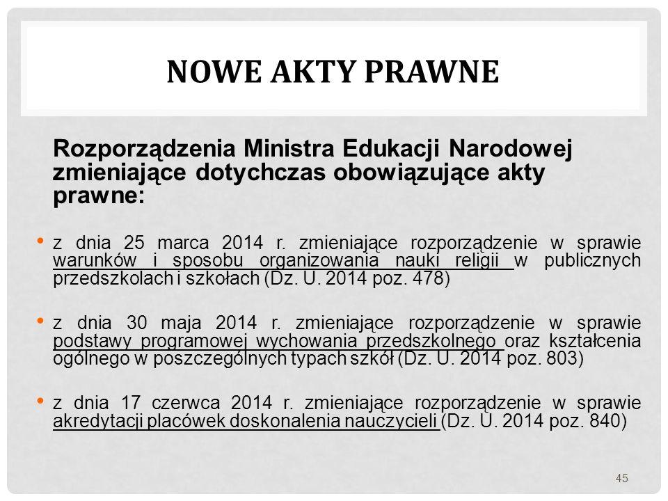 Rozporządzenia Ministra Edukacji Narodowej zmieniające dotychczas obowiązujące akty prawne: z dnia 25 marca 2014 r. zmieniające rozporządzenie w spraw