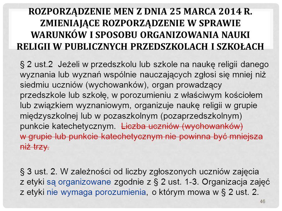 ROZPORZĄDZENIE MEN Z DNIA 25 MARCA 2014 R. ZMIENIAJĄCE ROZPORZĄDZENIE W SPRAWIE WARUNKÓW I SPOSOBU ORGANIZOWANIA NAUKI RELIGII W PUBLICZNYCH PRZEDSZKO