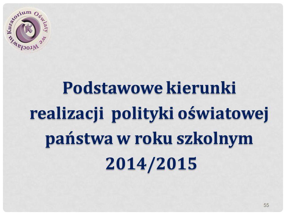 Podstawowe kierunki realizacji polityki oświatowej państwa w roku szkolnym 2014/2015 2014/2015 55