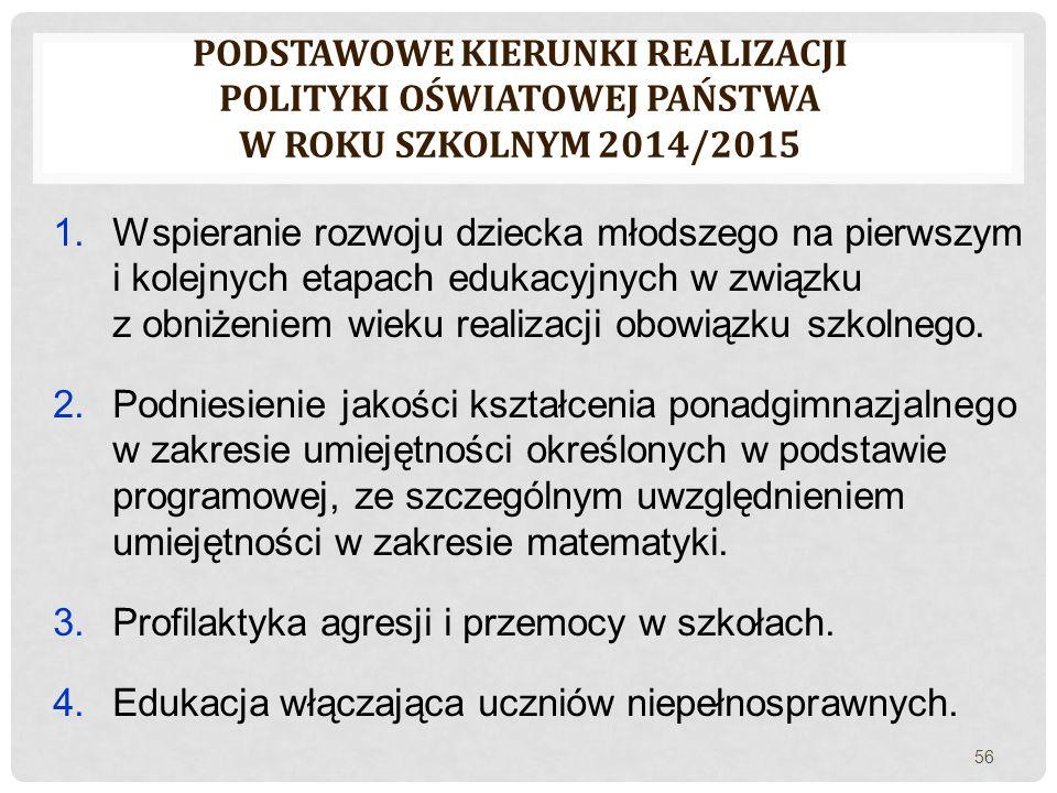 PODSTAWOWE KIERUNKI REALIZACJI POLITYKI OŚWIATOWEJ PAŃSTWA W ROKU SZKOLNYM 2014/2015 1.Wspieranie rozwoju dziecka młodszego na pierwszym i kolejnych e