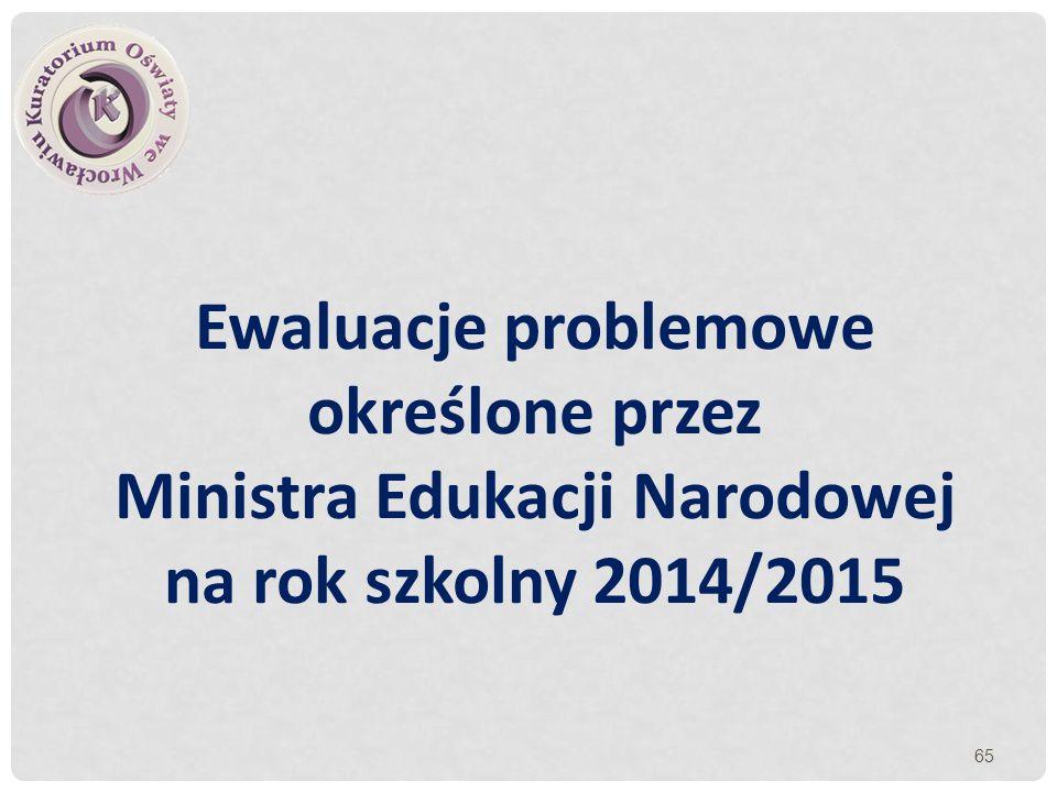 Ewaluacje problemowe określone przez Ministra Edukacji Narodowej na rok szkolny 2014/2015 65