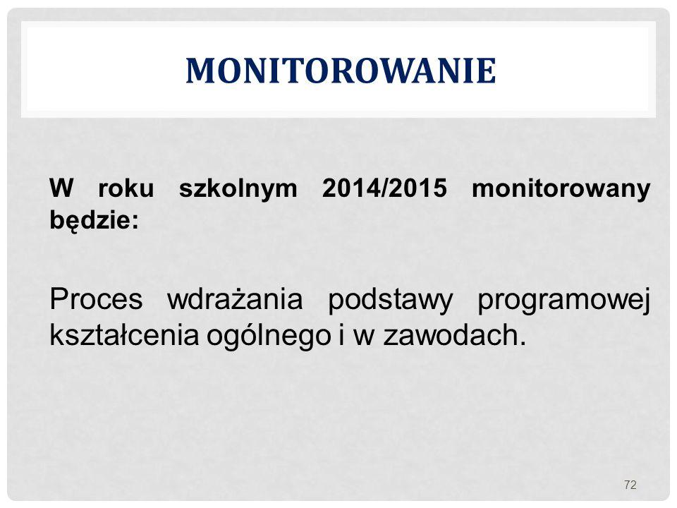 MONITOROWANIE W roku szkolnym 2014/2015 monitorowany będzie: Proces wdrażania podstawy programowej kształcenia ogólnego i w zawodach. 72