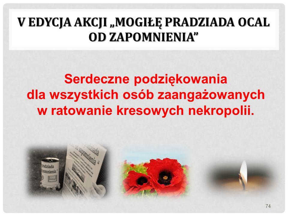 """V EDYCJA AKCJI """"MOGIŁĘ PRADZIADA OCAL OD ZAPOMNIENIA"""" Serdeczne podziękowania dla wszystkich osób zaangażowanych w ratowanie kresowych nekropolii. 74"""