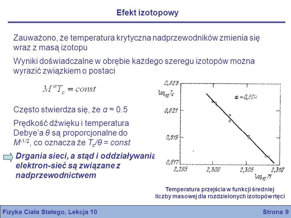 Fizyka Ciała Stałego, Lekcja 10 Strona 10 Termodynamika przejścia w stan nadprzewodnictwa Przejście między stanem normalnym a stanem nadprzewodzącym jest termodynamicznie odwracalne.