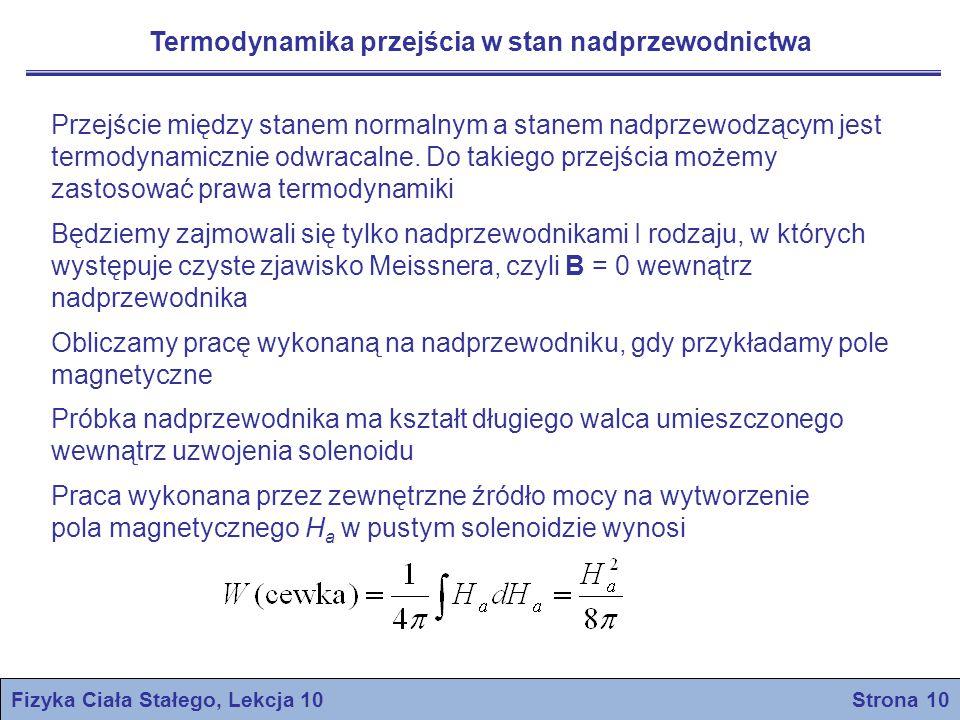 Fizyka Ciała Stałego, Lekcja 10 Strona 11 Solenoid zawierający materiał magnetyczny o namagnesowaniu M: Druga zasada termodynamiki: Potencjał termodynamiczny: Dla procesu przebiegającego w stałej temperaturze: