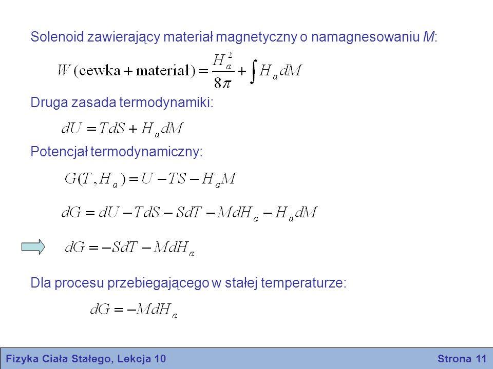 Fizyka Ciała Stałego, Lekcja 10 Strona 12 Załóżmy, że stan normalny metalu jest stanem niemagnetycznym.