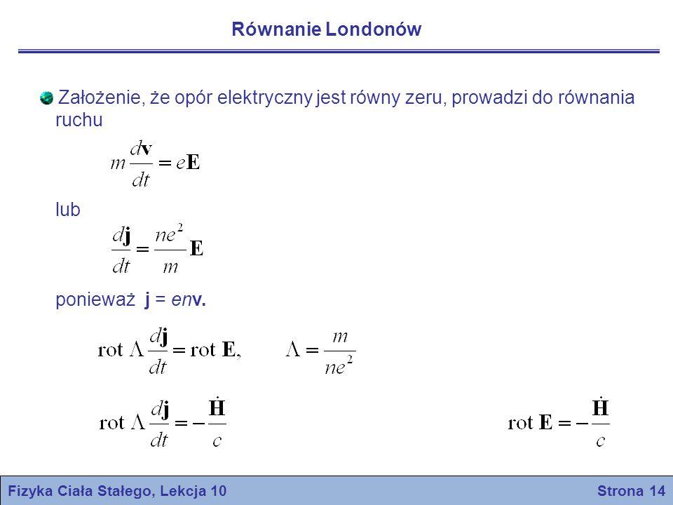 Całkując po czasie otrzymamy Fizyka Ciała Stałego, Lekcja 10 Strona 15 – równanie dopuszcza rozwiązanie H = H 0, gdzie H 0 jest dowolnym polem w t = 0