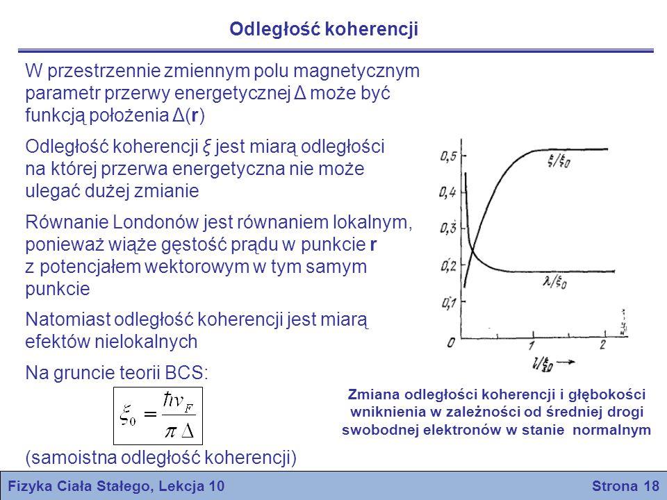 Fizyka Ciała Stałego, Lekcja 10 Strona 19 Teoria nadprzewodnictwa BCS Podstawą ogólnej kwantowej teorii nadprzewodnictwa stanowiły klasyczne prace Bardeena, Coopera i Schrieffera z 1957 roku Zasadnicze wyniki teorii BCS: Oddziaływanie przyciągające między elektronami może doprowadzić do powstania stanu podstawowego całego układu elektronowego, który jest oddzielony od stanów wzbudzonych pewną przerwą energetyczną Pole krytyczne, właściwości cieplne i większość właściwości elektromagnetycznych są konsekwencją istnienia przerwy energetycznej Oddziaływanie elektron-sieć-elektron jest przyciągające i może przezwyciężyć kulombowskie odpychanie między elektronami Oddziaływanie to prowadzi do pojawienia się przerwy energetycznej o wielkości zgodnej z obserwowaną