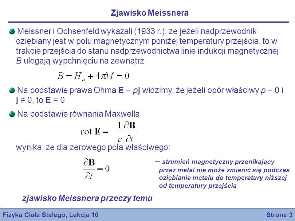 nadprzewodnik I rodzaju nadprzewodnik II rodzaju stan normalny przyłożone pole magnetyczne H a stan nadprzwodzący stan mieszany Fizyka Ciała Stałego, Lekcja 10 Strona 4 Namagnesowanie w funkcji przyłożonego pola magnetycznego Pełne zjawisko Meissnera (doskonały diamagnetyzm) występuje w nadprzewodnikach I rodzaju Inne materiały charakteryzują się inną krzywą magnesowania (na rys.) i znane są pod nazwą nadprzewodników II rodzaju Nadprzewodniki II rodzaju wykazują nadprzewodzące właściwości elektryczne aż do pola magnetycznego H c2, zwanego górnym polem krytycznym