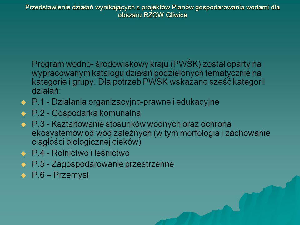Tabela I Występowanie działań wskazanych w Programie wodno- środowiskowym kraju na obszarze RZGW Gliwice Kategoria działań Grupa działańDziałanie Obszar Dorzecza OdryObszar Dorzecza Wisły Obszar Dorzecza Dunaju Region Wodny Górnej Odry Region Wodny Małej Wisły Region Wodny Czadeczki zlewnia bilansowa Górna Odra zlewnia bilansowa Kłodnica zlewnia bilanso wa Mała Wisła zlewnia bilansowa Przemsza zlewnia bilansowa Czadeczka P.1 Działania organizacyjn o-prawne i edukacyjne P.OP.1 Opracowanie warunków korzystania z wód regionu D.1XXXXX D.2 X X D.3 X X P.OP.2 Opracowanie warunków korzystania z wód zlewni D.4XXXX P.OP.3 Wzmocnienie zaplecza technicznego stanowisk związanych z ochroną środowiska w celu zapewnienia realizacji nowych przepisów krajowych i unijnych (m.in.