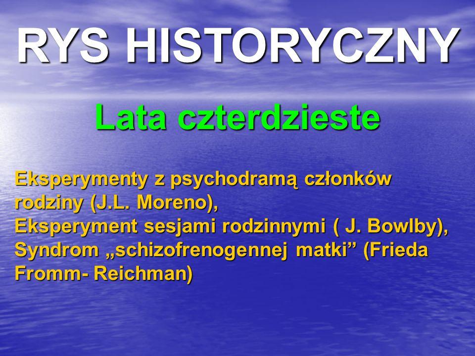 """Lata czterdzieste Eksperymenty z psychodramą członków rodziny (J.L. Moreno), Eksperyment sesjami rodzinnymi ( J. Bowlby), Syndrom """"schizofrenogennej m"""