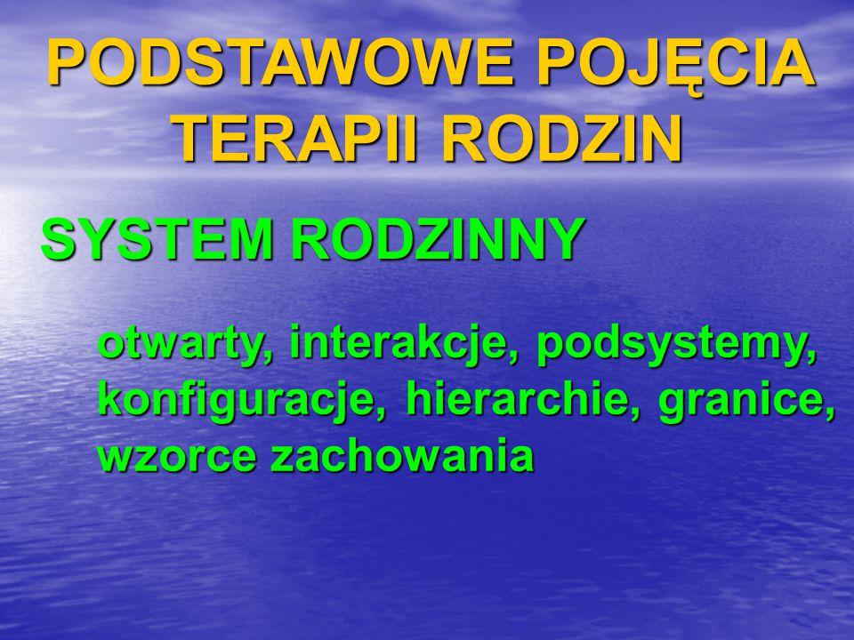 PODSTAWOWE POJĘCIA TERAPII RODZIN SYSTEM RODZINNY otwarty, interakcje, podsystemy, konfiguracje, hierarchie, granice, wzorce zachowania