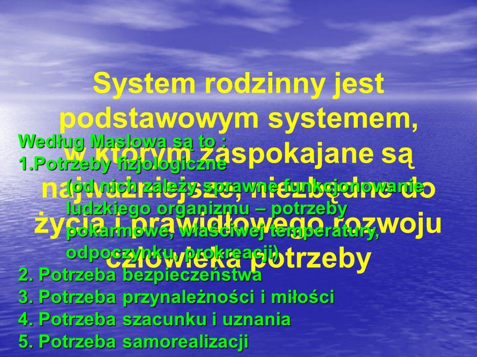 System rodzinny jest podstawowym systemem, w którym zaspokajane są najważniejsze, niezbędne do życia i prawidłowego rozwoju człowieka potrzeby Według