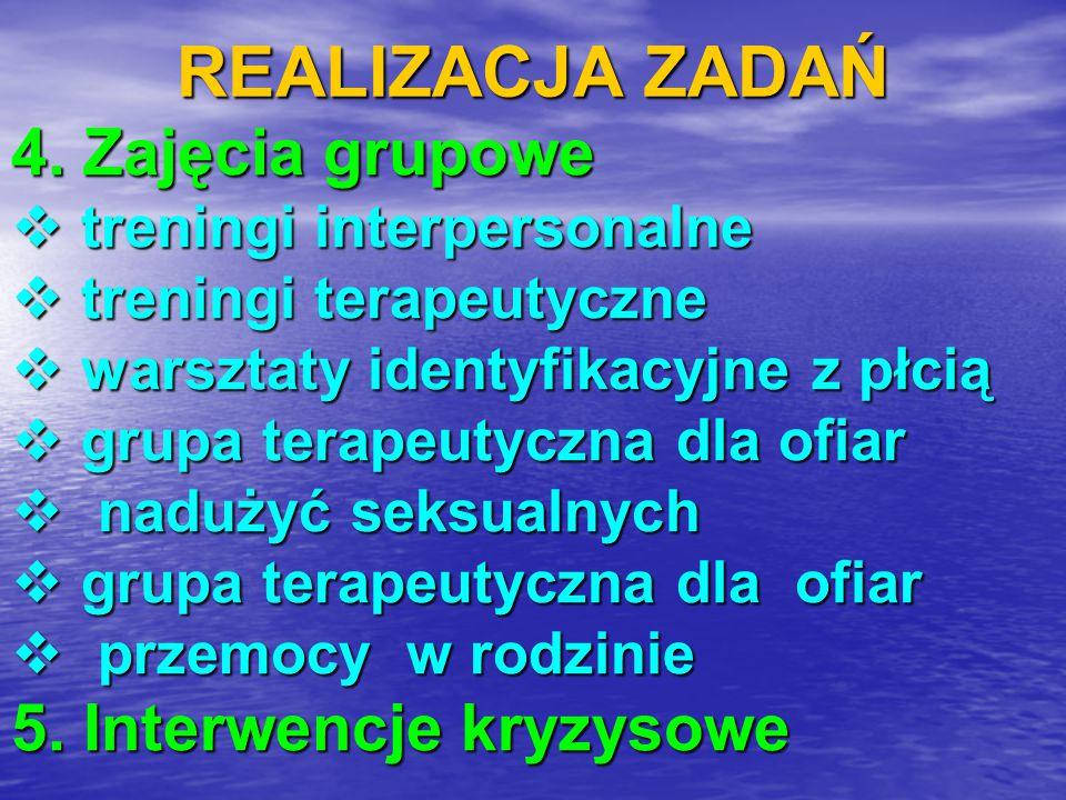REALIZACJA ZADAŃ 4. Zajęcia grupowe  treningi interpersonalne  treningi terapeutyczne  warsztaty identyfikacyjne z płcią  grupa terapeutyczna dla