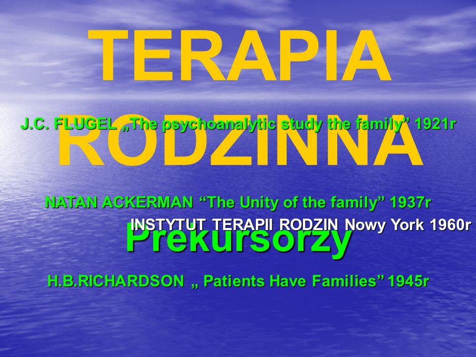 "TERAPIA RODZINNA Prekursorzy J.C. FLUGEL ""The psychoanalytic study the family"" 1921r NATAN ACKERMAN ""The Unity of the family"" 1937r INSTYTUT TERAPII R"