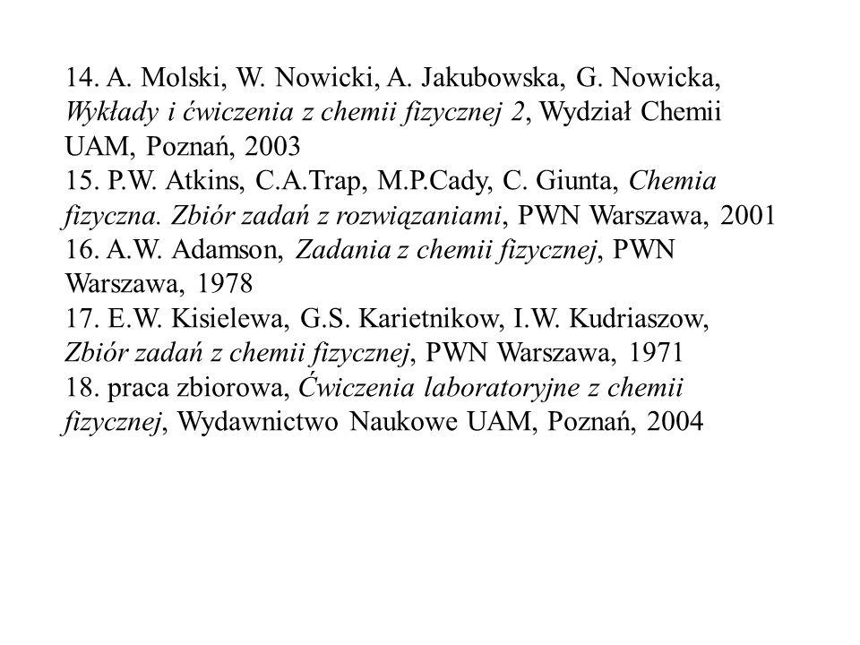 14. A. Molski, W. Nowicki, A. Jakubowska, G. Nowicka, Wykłady i ćwiczenia z chemii fizycznej 2, Wydział Chemii UAM, Poznań, 2003 15. P.W. Atkins, C.A.