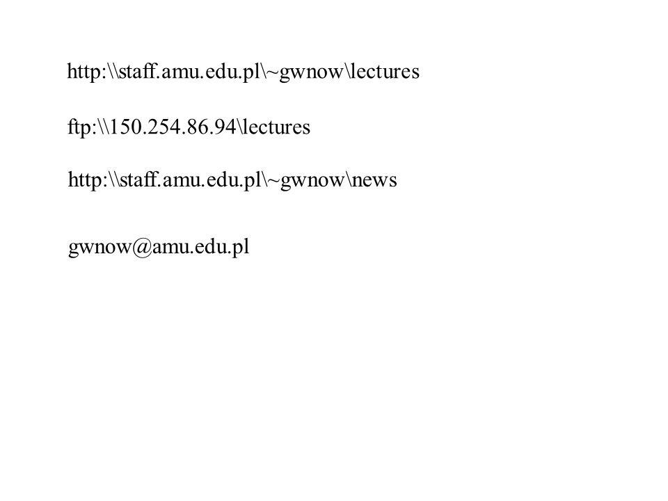 http:\\staff.amu.edu.pl\~gwnow\lectures ftp:\\150.254.86.94\lectures gwnow@amu.edu.pl http:\\staff.amu.edu.pl\~gwnow\news