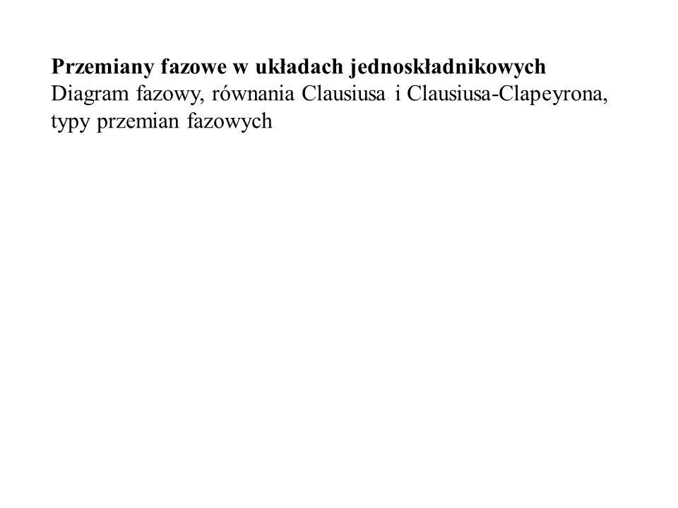 Przemiany fazowe w układach jednoskładnikowych Diagram fazowy, równania Clausiusa i Clausiusa-Clapeyrona, typy przemian fazowych